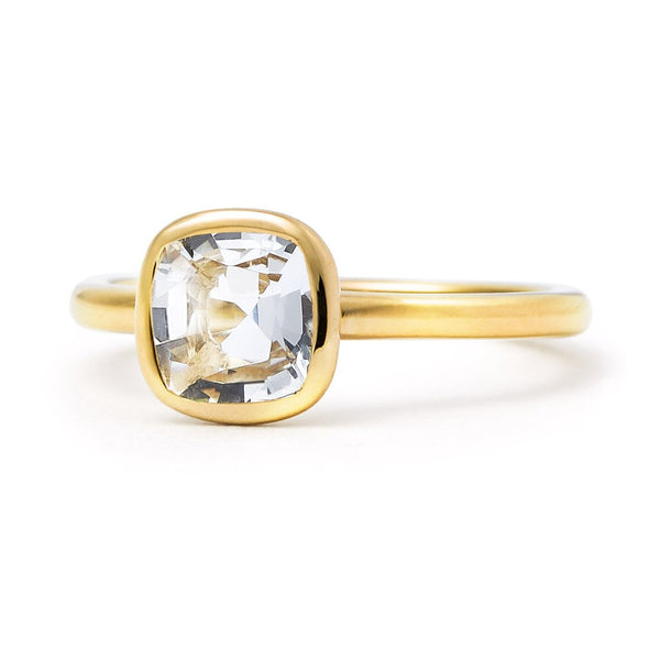 The Nicole - Baby (Cushion Cut White Beryl in 18ct Gold)