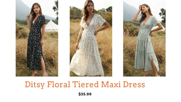 Ditsy floral print tiered maxi dress