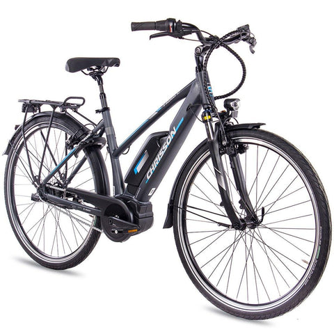 CHRISSON 28 Zoll E-Bike City Damen E-ROUNDER mit 7 Gang Shimano BOSCH 400Wh anthrazit-grau-matt