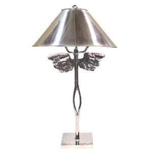 Guardian Angel Lamp, Nickel (with shade)
