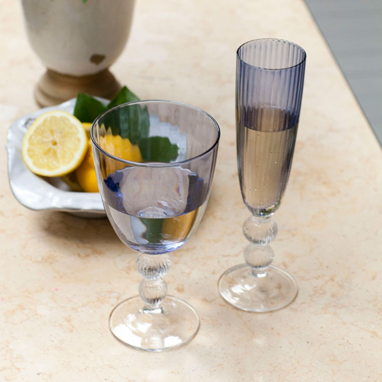 GLASS Venice Champagne Flute Blue (Set of 4)