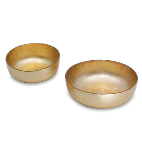 NEW ORLEANS Glass Gold Foil Shallow Round Bowl Set  - Small