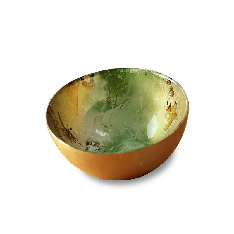 NEW ORLEANS Glass Green and Gold Marble Small Round Bowl  - Small