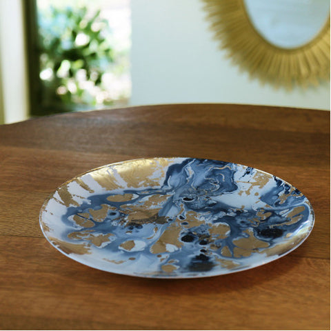 NEW ORLEANS Glass Blue and Gold Marble Large Round Platter - Large