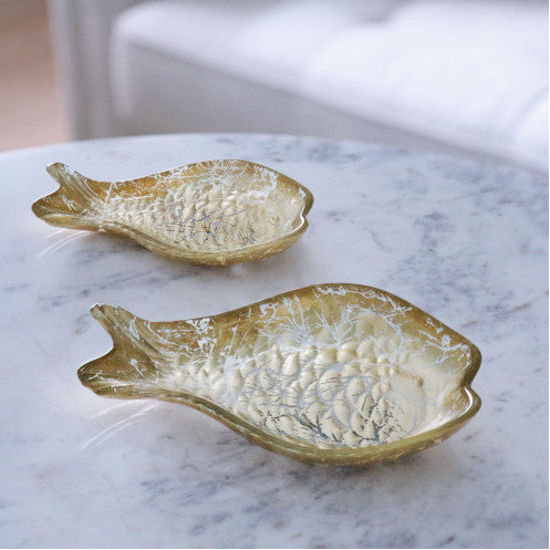 NEW ORLEANS Glass 2 pc cracked gold foil fish set