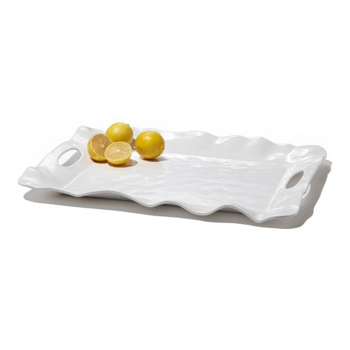 VIDA Havana White Rectangular Tray with Handles