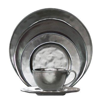 Pewter Stoneware 5pc Place Setting