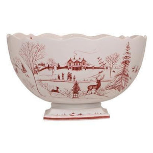Country Estate Winter Frolic Centerpiece Bowl Christmas Celebration