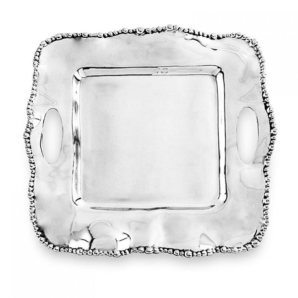 ORGANIC PEARL Kristi Small Square Tray with Handles - Small