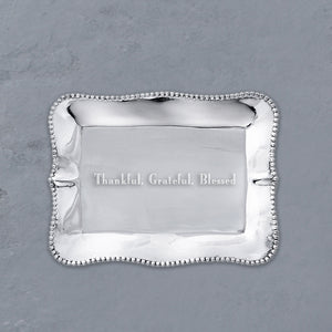 "GIFTABLES Pearl Rectangular Engraved Tray ""Thankful, Grateful, Blessed"""