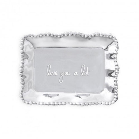 GIFTABLES Organic Pearl Rectangular Engraved Tray - love you a lot