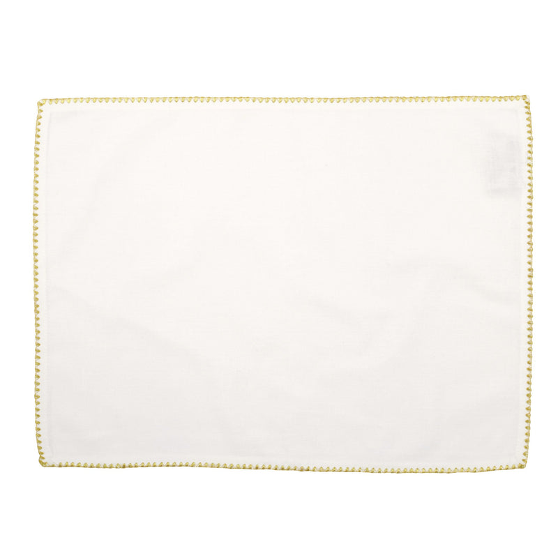 Cotone Linens Placemat with Gold Stitching - Set of 4