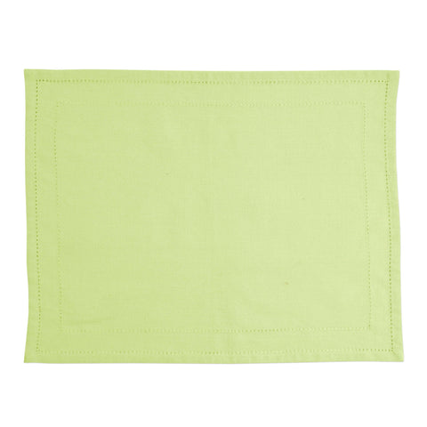 Cotone Linens Pistachio Placemats with Double Stitching - Set of 4