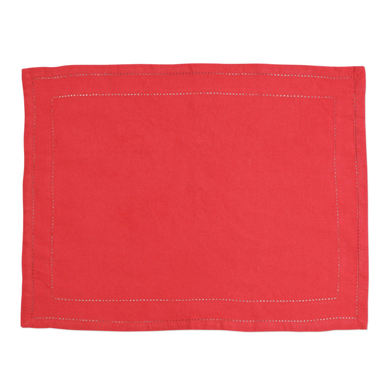 Cotone Linens Red Placemats with Double Stitching - Set of 4