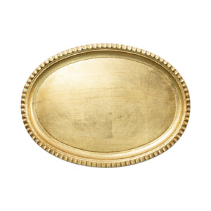 Florentine Wooden Accessories Gold Small Oval Tray