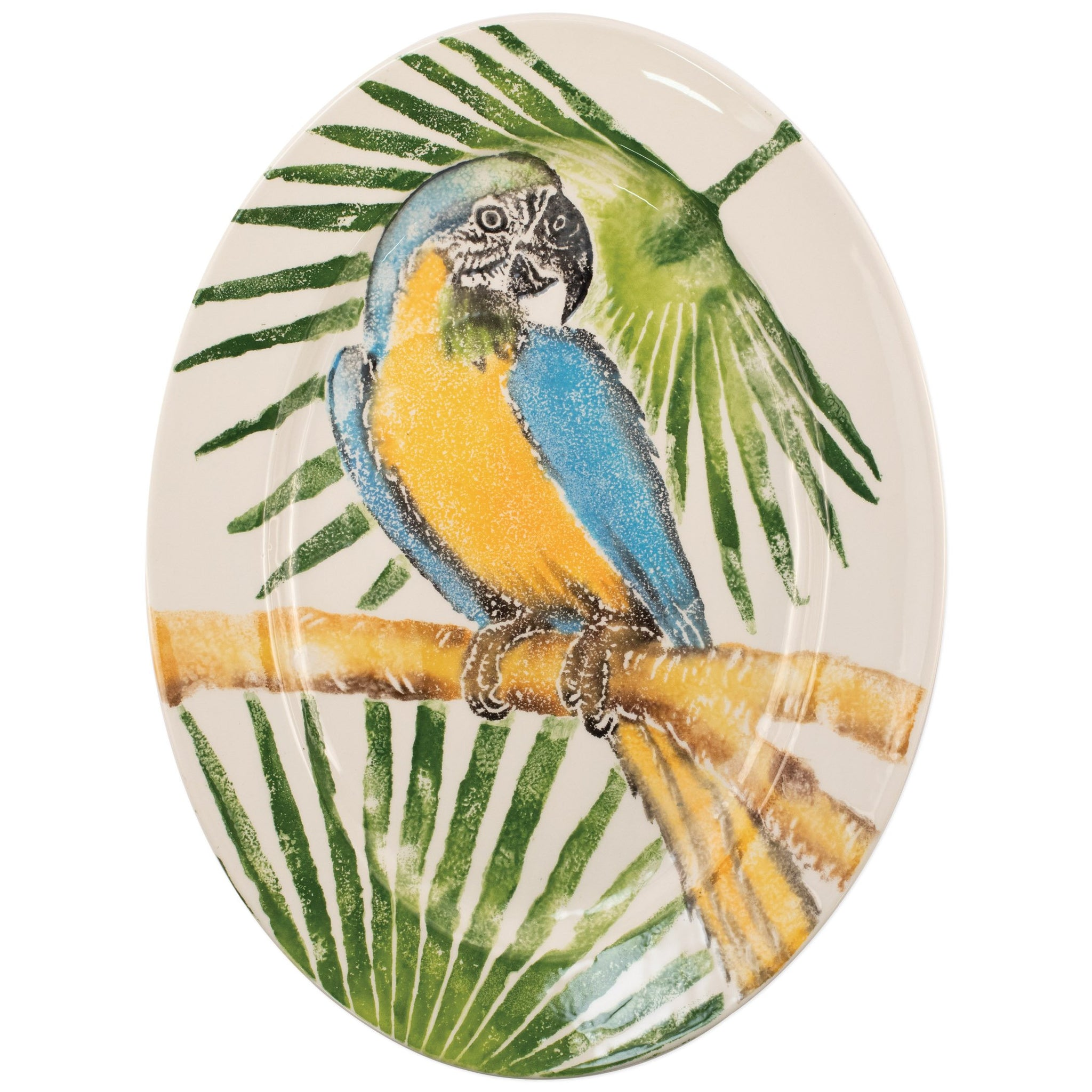 Into the Jungle Parrot Oval Platter