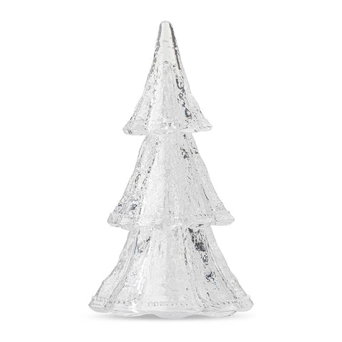 "Berry & Thread Stackable Glass Tree 10.5"" Medium 3pc Stacking Glass Tree, Clear with Snow"