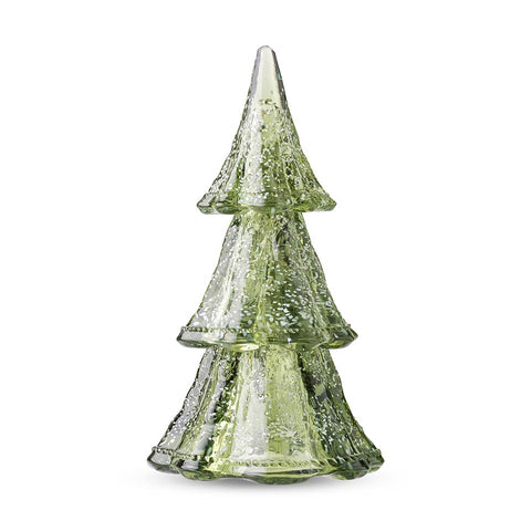 "Berry & Thread Stackable Glass Tree 10.5"" Medium 3pc Stacking Glass Tree, Evergreen with Snow"