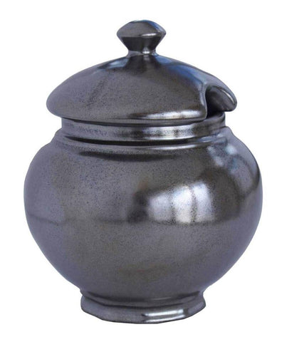 Pewter Stoneware Lidded Sugar Bowl