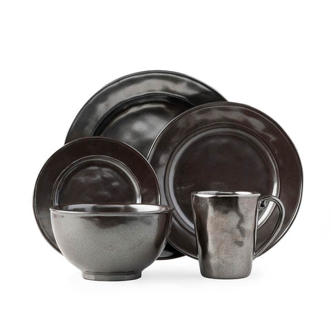 Pewter Stoneware 5pc Place Setting with Mug and Cereal Bowl