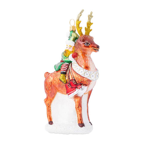 Ornaments Country Estate Reindeer Games Dancer the Reindeer with Elf Glass Ornament