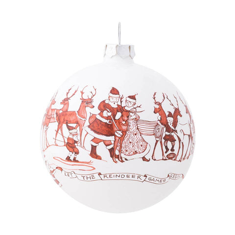 Ornaments Country Estate Reindeer Games Ball Glass Ornament