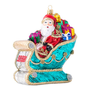 Ornaments Berry & Thread 2020 Santa in Sleigh Glass Ornament