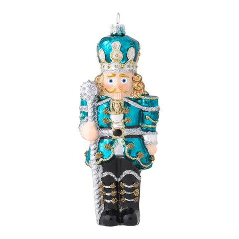Ornaments Berry & Thread Teal Nutcracker Glass Ornament