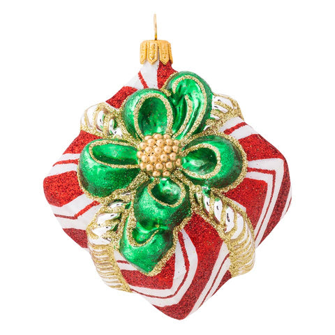 Ornaments Berry & Thread Red & White Stripe Present Glass Ornament