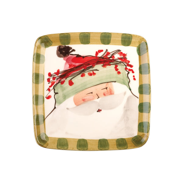 Old St. Nick Square Salad Plate - Hat