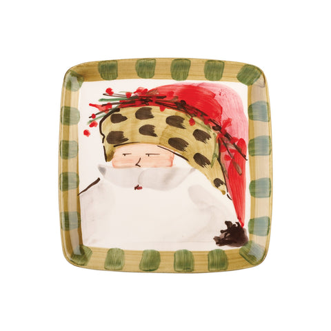 Old St. Nick Square Salad Plate - Animal Hat