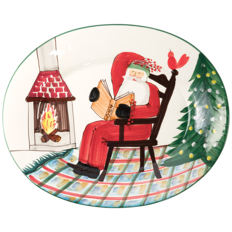 Old St. Nick Large Oval Platter w/ Santa Reading