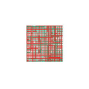 Papersoft Napkins & Red Plaid Cocktail Napkins (Pack of 20)
