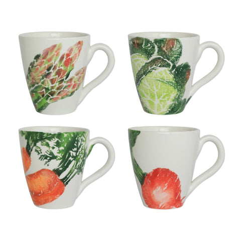 Spring Vegetables Assorted Mugs - Set of 4