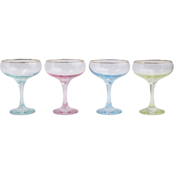 Rainbow Assorted Coupe Champagne Glasses - Set of 4