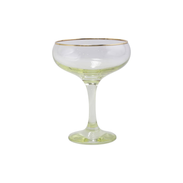Rainbow Yellow Coupe Champagne Glass