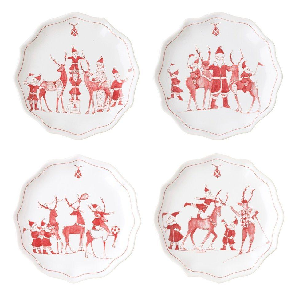Country Estate Reindeer Games Ruby Tidbit Plates Set/4