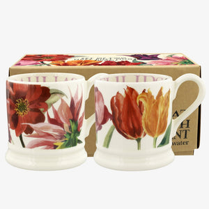 Flowers Set Of 2 1/2 Pint Mugs Boxed