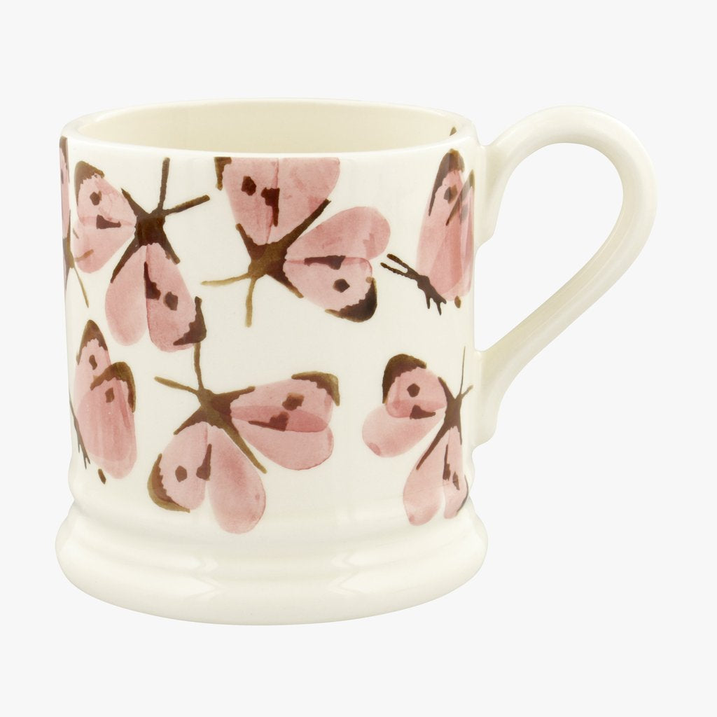Pink White Butterfly 1/2 Pint Mug