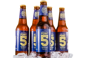 Five bottles of Point 5 nonalcoholic beer on ice