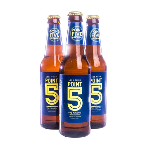 Thre bottles of Point 5 Non-alcoholic Beer