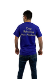 "Back of Point 5 T-shirt, Blue shirt with yellow text that reads ""Crisp Refreshing Non-Alcoholic"""