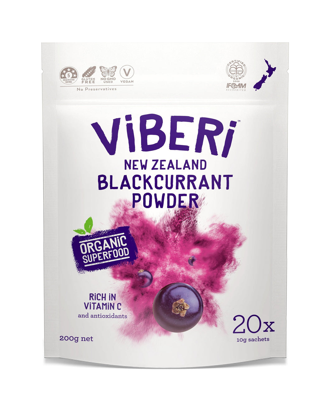 有機JAS カシスパウダー 200g - ViBERi Organic Blackcurrant Powder - (10g * 20 Sachets)