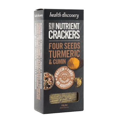 Nutrient Crackers Paleo Four Seeds, Turmeric & Cumin, Gluten Free, Dairy Free, Wholefood