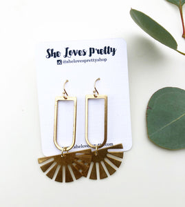 Brass Sunburst Drop Earrings