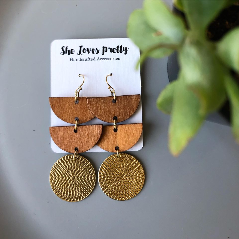 Wood and Brass Daybreak Earrings