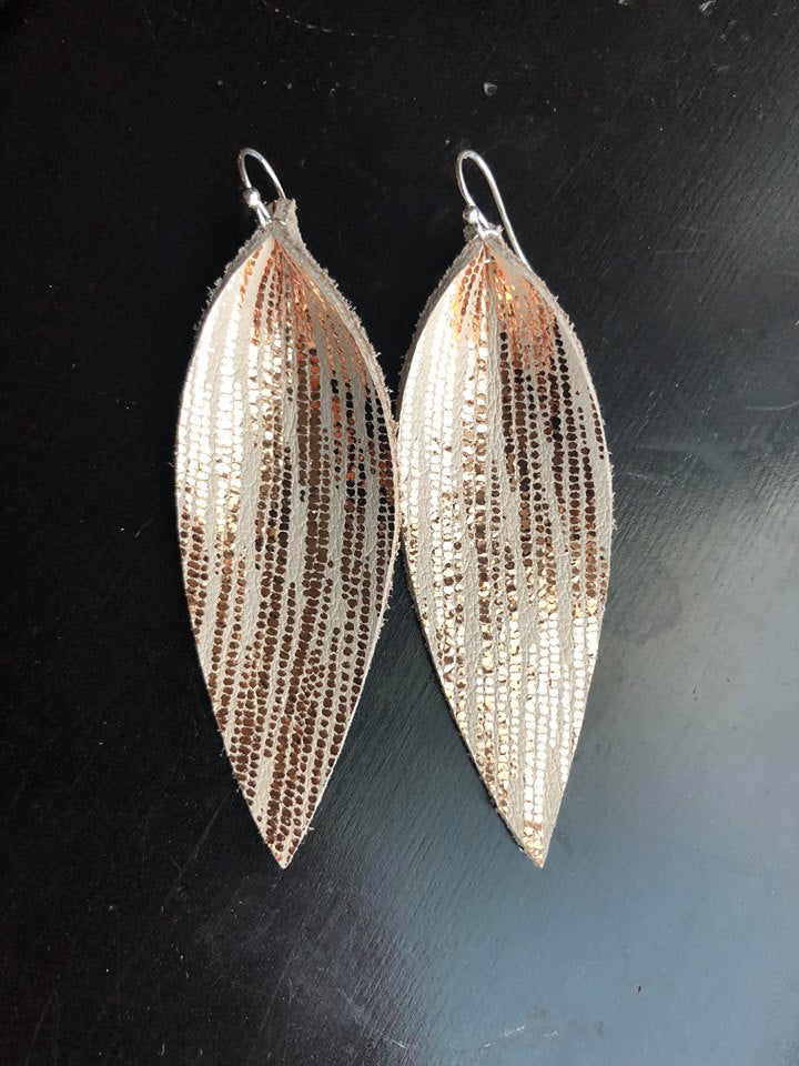 Metallic Spike Leather Earrings
