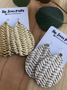 Metallic Weave Leather Teardrop Earrings