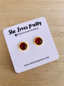 Buffalo Plaid Studs Set