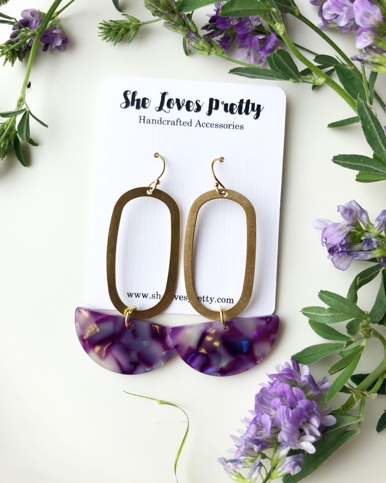 Violet Tie Dye Drop Earrings